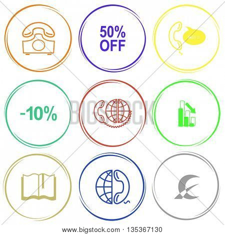 rotary phone, 50% OFF, support, -10%, global communication, graph degrees, book, globe and phone, monetary sign. Business set. Internet button. Vector icons.