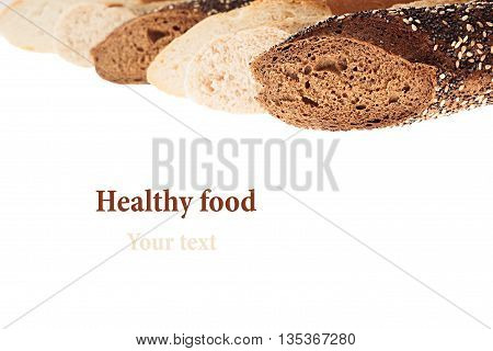 Cut baguette bread of different varieties on a white background. Isolated. Decorative frame of bread. Macro. Texture. Food background.