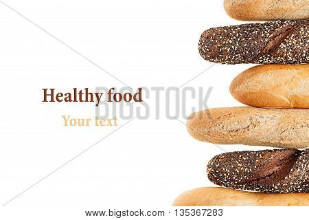 Baguette bread of different varieties on a white background. Rye wheat and whole grain bread. Isolated. Decorative frame of bread. Food background. Copy space.