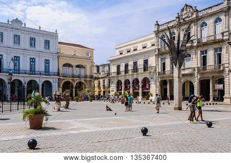 HAVANA, CUBA - MARCH 16, 2016: The Plaza Nueva square in the Old Havana neighborhood Cuba