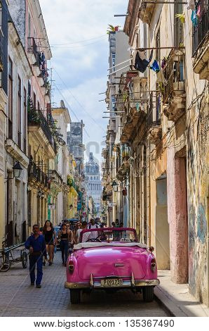 HAVANA, CUBA - MARCH 16, 2016: Street life in the Old Havana neighborhood Cuba