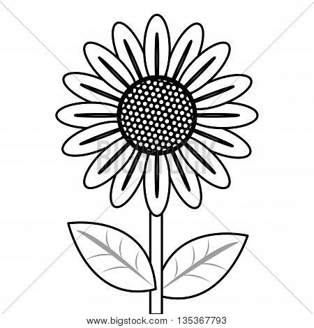 simple black line multiple petal flower with stem and leaves icon vector illustration