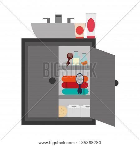 flat design bathroom cabinet and sink icon vector illustration