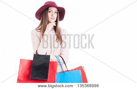 Portrait Of Fashionable Woman With Colorful Shopping Bags