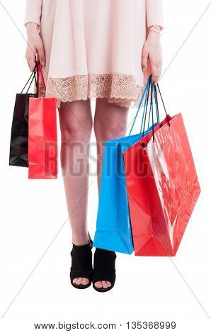 Low Section Of Young Stylish Girl Carrying Shopping Bags