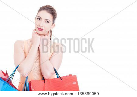 Woman Carrying Shopping Bags Posing Camera Looking