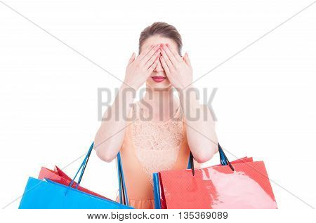 Pretty Lady Shopper Covering Her Eyes With Both Hands