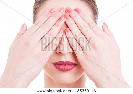 Close-up Of Young Woman Face With Eyes Covered
