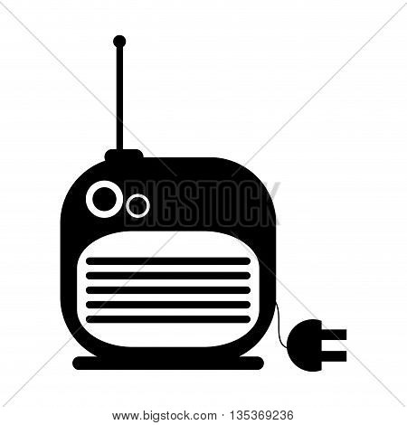 black and white radio with cord and plug vector illustration