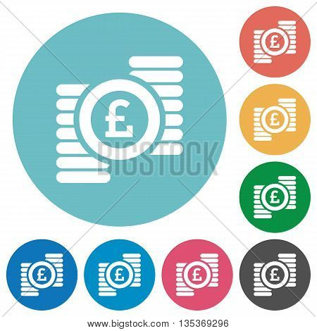 Flat pound coins icon set on round color background.