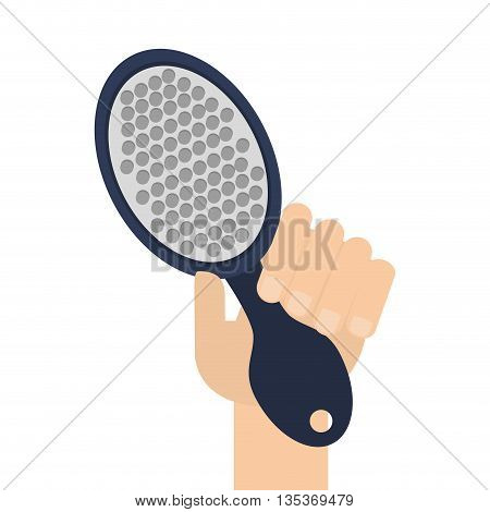 caucasian hand holding simple blue hairbrush with long handle vector illustration