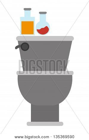 flat design toilet with items on top icon vector illustration