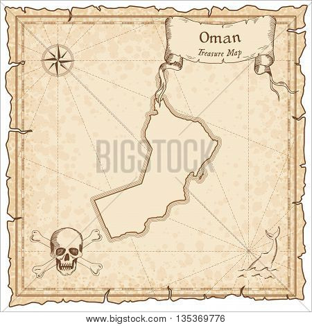 Oman Old Pirate Map. Sepia Engraved Template Of Treasure Map. Stylized Pirate Map On Vintage Paper.