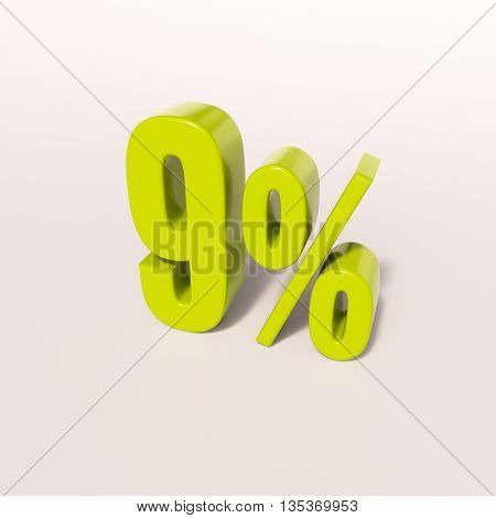 3d render: green 9 percent, percentage discount sign on white, 9%