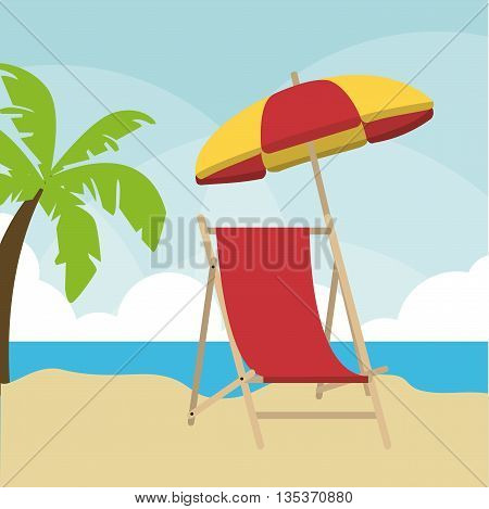 Summer Holidays represented by palm tree and chair  design. colorfull illustration