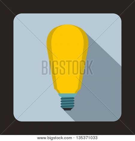 Light bulb icon in flat style on a light blue background