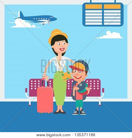 Mother and Son Waiting to Departure to the Vacation in Airport. Vector illustration