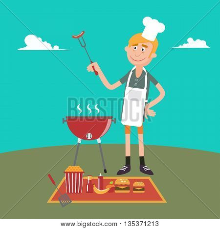 Man Doing Barbecue on Picnic. Summer Grill Party. Vector illustration