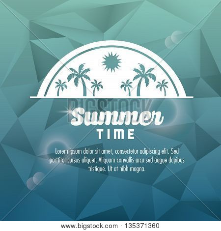 Summer Holidays represented by palm tree design. polygon illustration