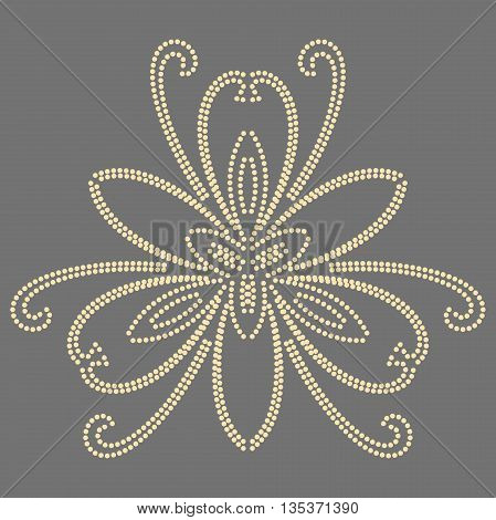 Floral vector pattern with fine arabesques. Abstract oriental ornament. Gray and golden pattern