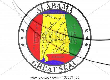 State Seal Of Alabama, Usa. 3D Illustration.