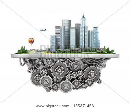 Concept of city. City on the gears mechanism on a white background. 3d illustration
