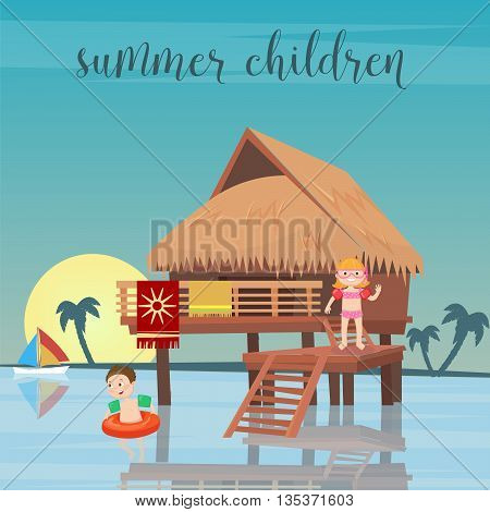 Children Sea Vacation. Girl and Boy in the Beach Bungalows. Vector illustration