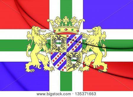 Flag Of Groningen Province, Netherlands. 3D Illustration.