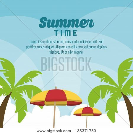 Summer Holidays represented by palm tree and umbrella design. colorfull illustration