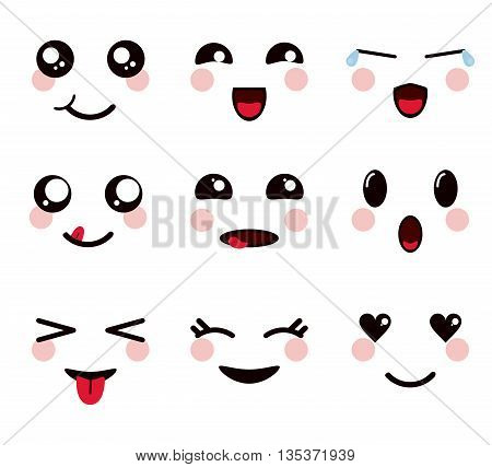 Kawaii represented by set of cartoon icon. Happy expression.   isolated and flat background