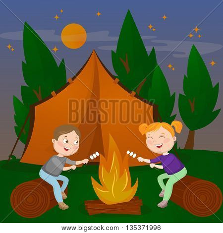 Children Summer Camp. Boy and Girl sitting by Fireplace. Bonfire with Marshmallow. Vector illustration