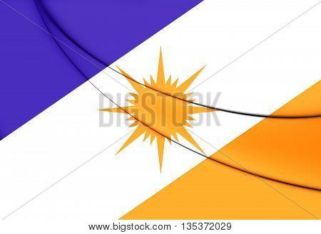 Flag of Tocantins Brazil. Close Up.