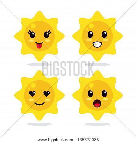 Kawaii represented by sun cartoon icon. Happy expression.   isolated and flat background