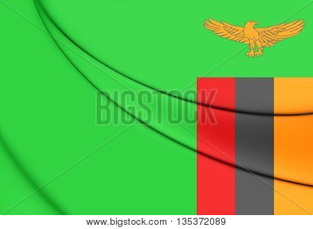 Flag of the Zambia. Close Up.