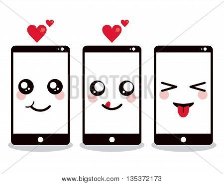 Kawaii represented by smartphone cartoon icon. Happy expression.  isolated and flat background