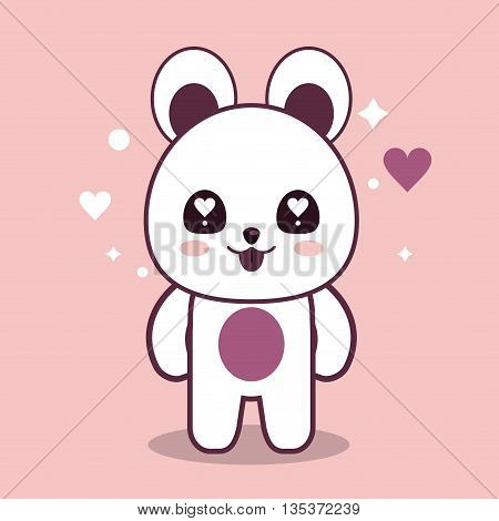 Kawaii represented by bear cartoon icon. Happy expression. pink and flat background