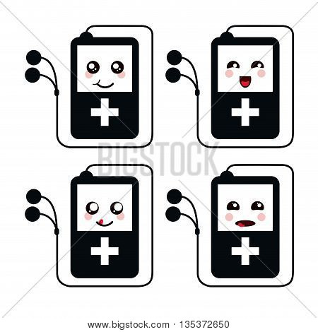 Kawaii represented by Mp3 cartoon icon. Happy expression. isolated and flat background