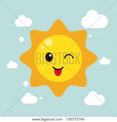 Kawaii represented by sun cartoon icon. Happy expression. blue with cloud and flat background