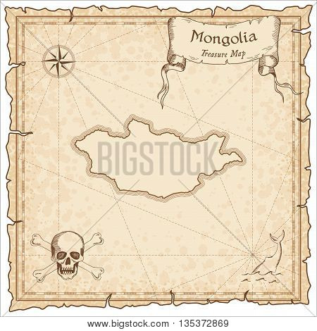 Mongolia Old Pirate Map. Sepia Engraved Template Of Treasure Map. Stylized Pirate Map On Vintage Pap