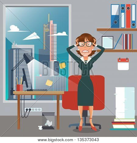 Stressed Business Woman in Office Work Place with Computer and Documents. Vector illustration