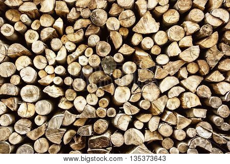 Background of wooden logs. Year rings. Pile wood. Deforestation theme. Wood industry. Woodpile scene. Chopped wood.