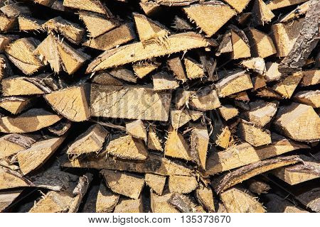 Background of yellow wooden logs. Year rings. Pile wood. Deforestation theme. Wood industry. Chopped wood. Woodpile scene.