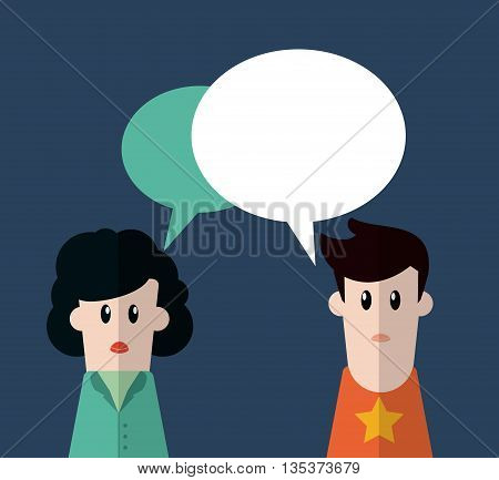 Communication represented by male and female person with bubble design, flat and blue background