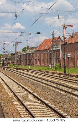 Railroad tracks and signals in Lingen Germany