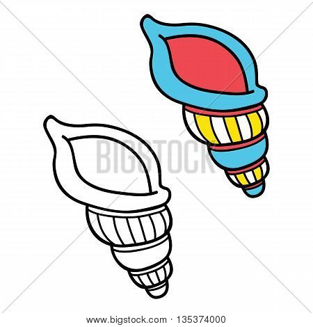 simple educational kids coloring page. Vector illustration of educational kids coloring page with cartoon shell for children, coloring and scrap book