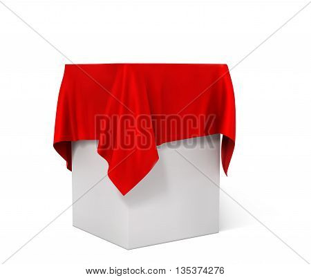 red cloth on a square pedestal isolated on white. vector illustration.