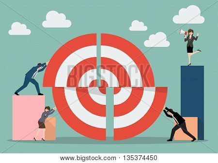 Business teamwork pushing a pieces of big target. Business teamwork concept