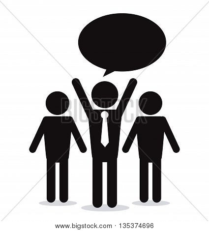 Communication represented by pictogram shape with bubble  design, isolated and flat background