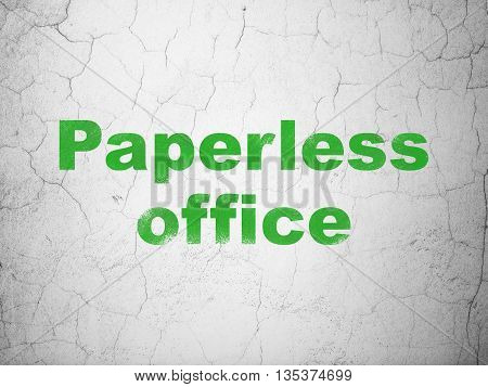 Business concept: Green Paperless Office on textured concrete wall background