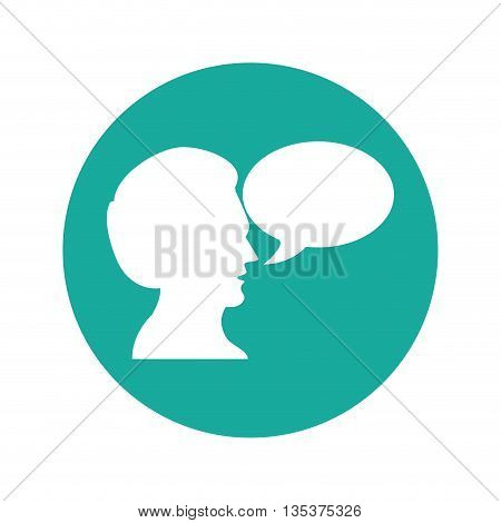 Communication represented by male person with bubble over circle  design, isolated and flat  background